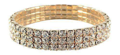 Single Pack of 2 3 Row Rhinestone Stretch Bracelet Gold-Tone Silver-Tone gold single-[product_tag]-My MALL Metro