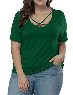 Womens Criss Cross Short-Sleeves Tee Tops-[product_tag]-My MALL Metro