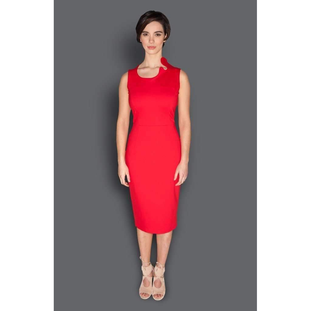 Asymmetric Neckline Fitted Sheath Dress-[product_tag]-My MALL Metro