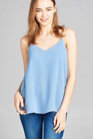 Womens V-neck back Cross-Straps woven top-[product_tag]-My MALL Metro
