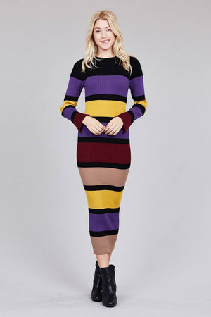 Ladies fashion long sleeve round neck color block long knit dress-[product_tag]-My MALL Metro