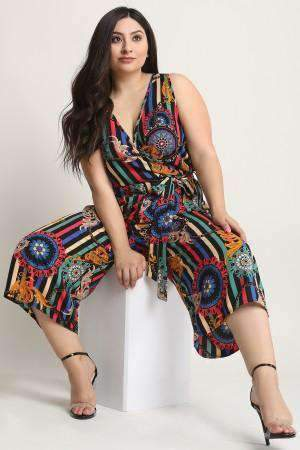 Filigree Bohemian Wheel Surplice Crop Wide Leg Jumpsuit-[product_tag]-My MALL Metro