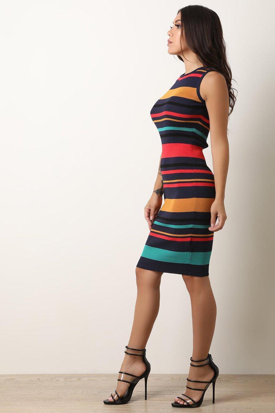 Horizontal Striped Ribbed Knit Bodycon Dress-[product_tag]-My MALL Metro