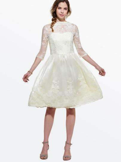 A-Line Half Sleeve Womens Lace Dress-[product_tag]-My MALL Metro