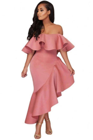 Asymmetric Ruffle Off-Shoulder Dress Longue Slash-Neck Dresses-[product_tag]-My MALL Metro