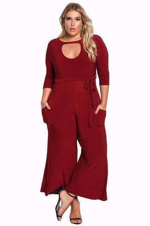 Womens Cut Out Wide Legged Jumpsuit Womens-[product_tag]-My MALL Metro