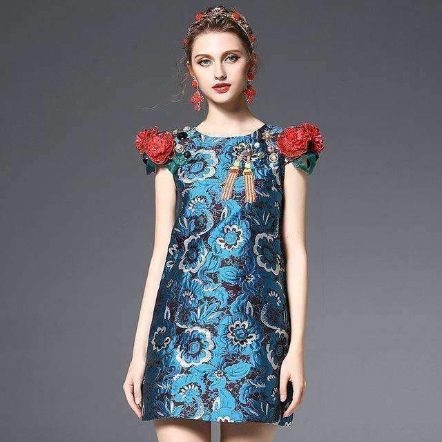 Appliques Beading Sequins Jacquard Sleeveless Short Dress-[product_tag]-My MALL Metro