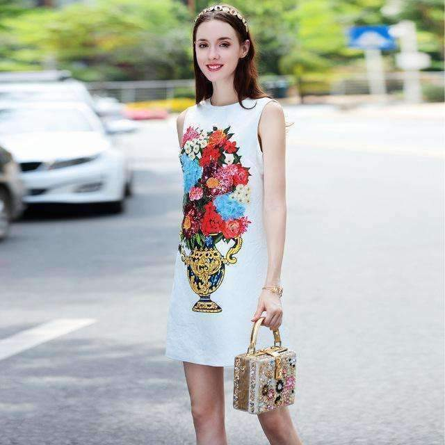 Appliques Beading Sequins Dress Floral Print Sleeveless Mini Dress-[product_tag]-My MALL Metro
