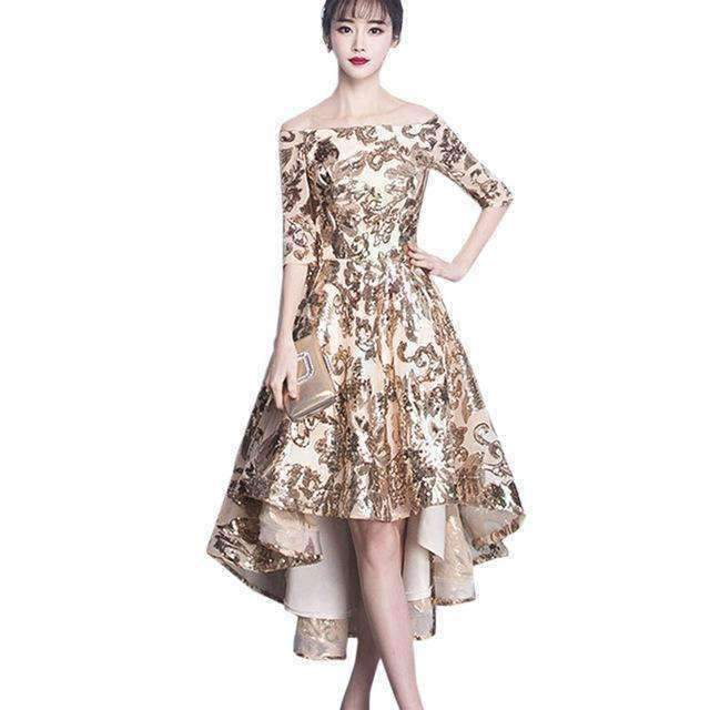 Asymmetrical Gold Sequins Women Dress Lacing Long Dresses-[product_tag]-My MALL Metro