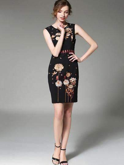 Back Split Embroidery Womens Sheath Dress-[product_tag]-My MALL Metro