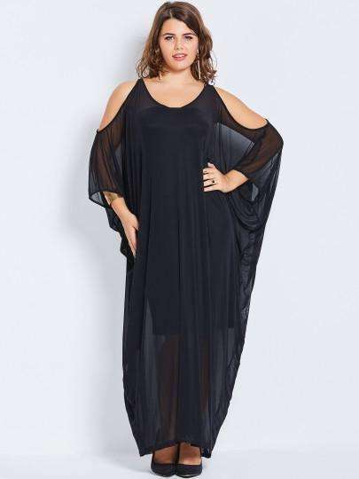 Batwing Sleeve Pencil Scoop Hollow Mesh Women Maxi Dress-[product_tag]-My MALL Metro