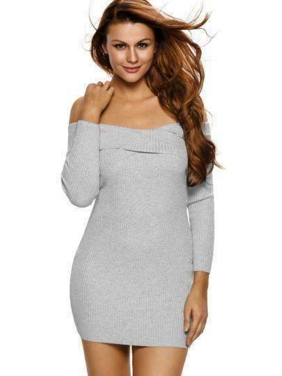 Bodycon Slash-Neck Womens Sweater-Dress-[product_tag]-My MALL Metro