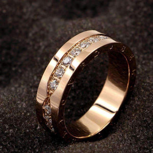 Stainless Steel Crystal One Row Screw Rings Rose Gold Color Woman-[product_tag]-My MALL Metro