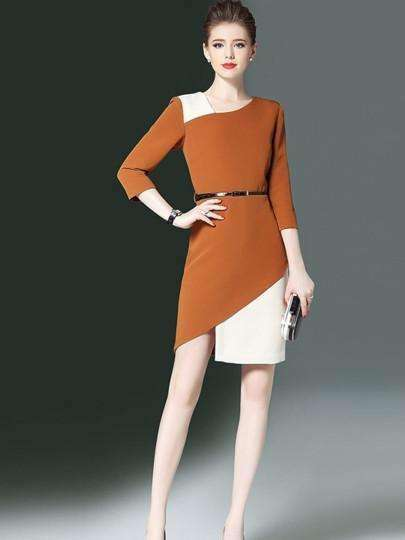 3/4-Sleeve Double-Womens Day Dress-[product_tag]-My MALL Metro