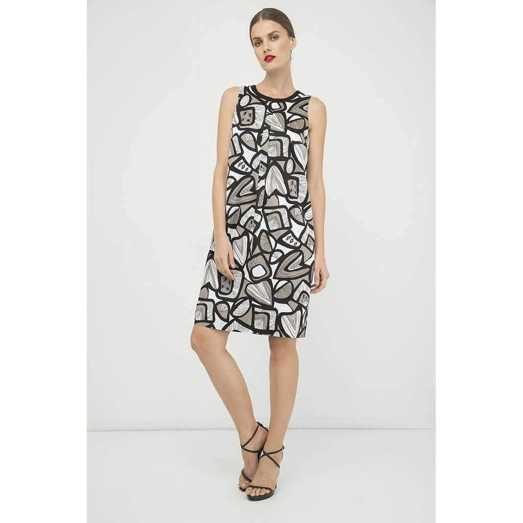 A-Line Pleat Detail Print Dress-[product_tag]-My MALL Metro