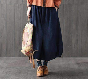 Bohemian Boho Waist Loose Denim Cotton Jeans Pocket Women Long Skirt-[product_tag]-My MALL Metro