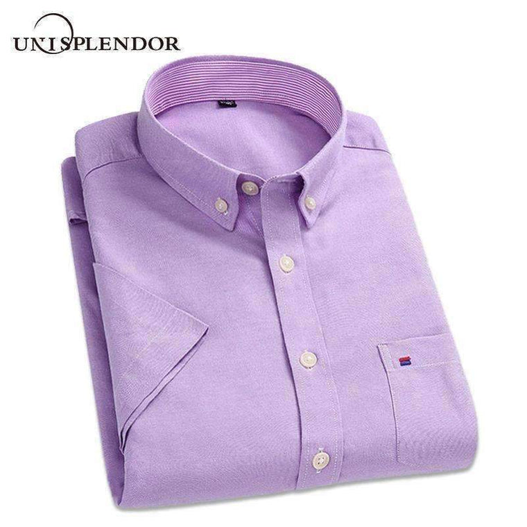 Cotton Men Short Sleeve Shirts Solid Business Working Wear Casual Male Plus Size Shirt Oxford Yn100%80