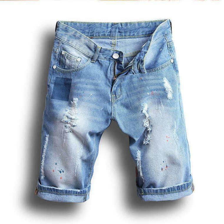 Denim Shorts Male Jeans Men Jean Bermuda Skate Board Haremmens Jogger Ankle Ripped Wave 38 36