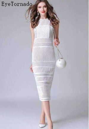 Womens Sleeveless Halter Hollow-Outplace Striped Bodycon Dress-[product_tag]-My MALL Metro
