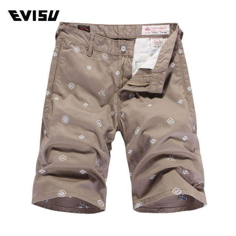 Evisu Originalmens Shorts Popular Casual Embroidery Clothing Men Khaki Cotton Button 6177A