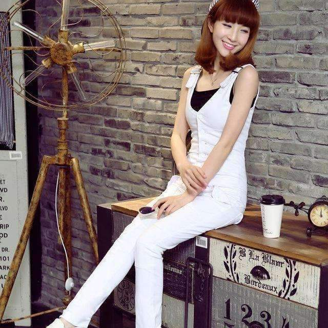 Explosion The And Of Korean Women Denim Bib Tight Pants Jumpsuit One Generation