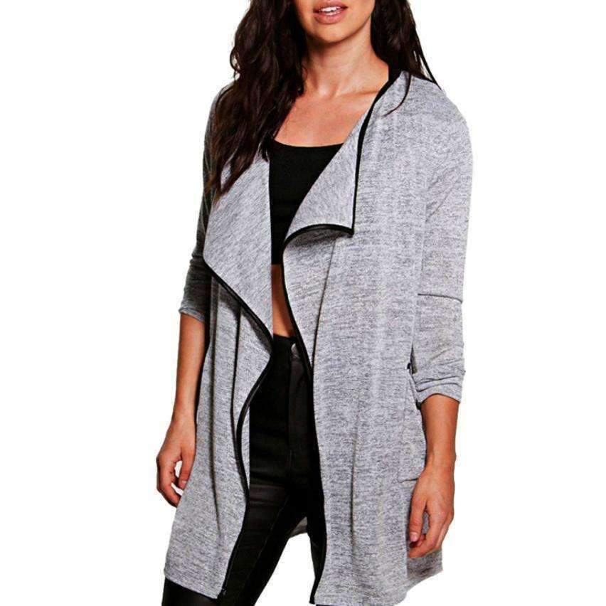 Womens Knitted Cotton Coat Long-Sleeve Knitted Cardigans Outwear Open Stitch Tops-[product_tag]-My MALL Metro