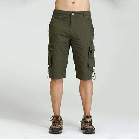 Free Brand Men Cargo Shorts Green Big Pockets Decoration Mens Casual Clothing Mk 7105A