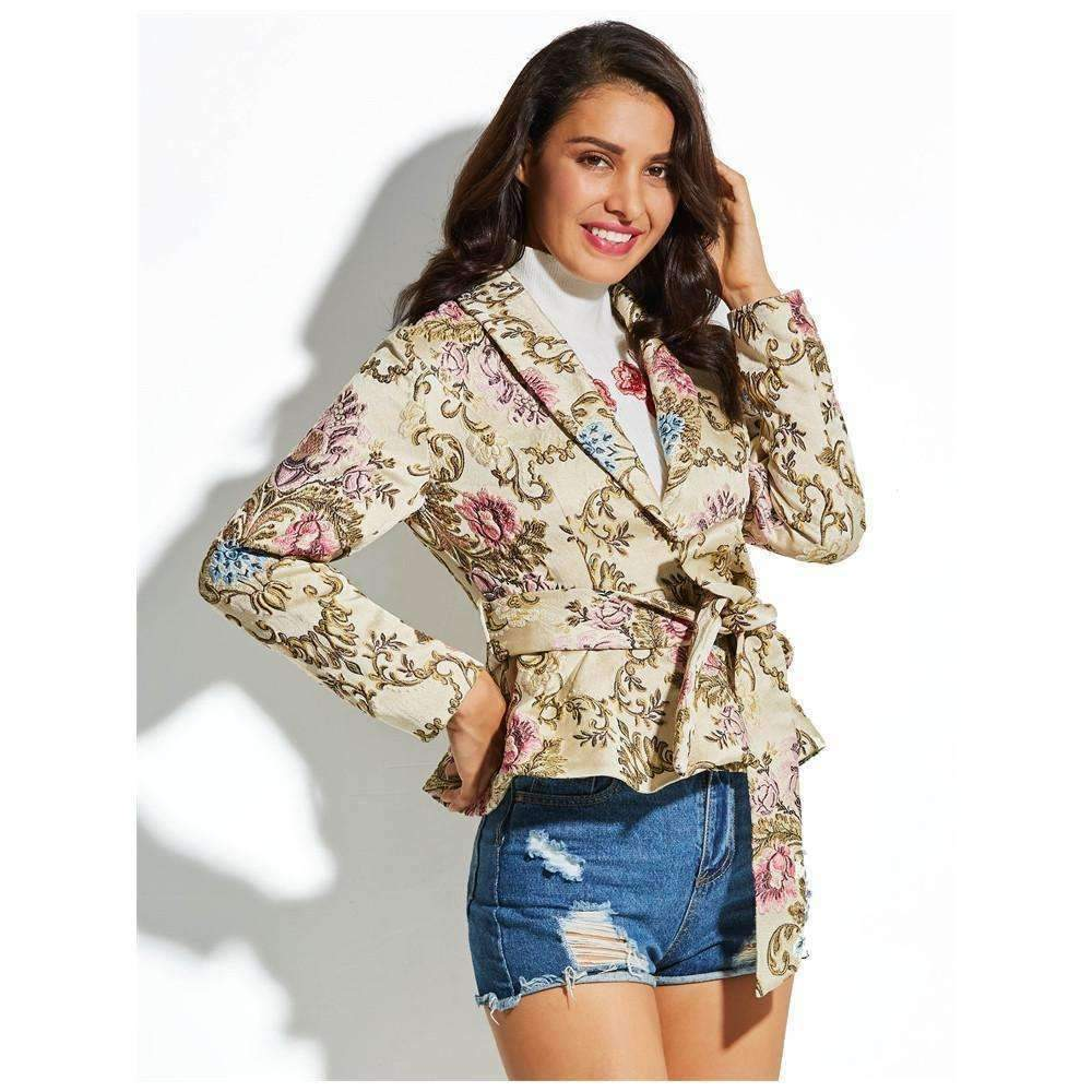 Womens, Full Sleeves Flower Trench Jacket-[product_tag]-My MALL Metro