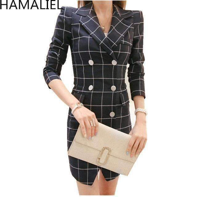Womens Jacket Coat Womens Plaid Double Breasted Turn-Down Collar Pockets Bodycon Coat-[product_tag]-My MALL Metro