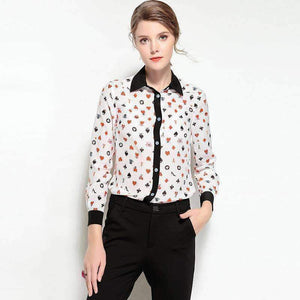 Womens Long-Sleeve Print Silk Blouse-[product_tag]-My MALL Metro