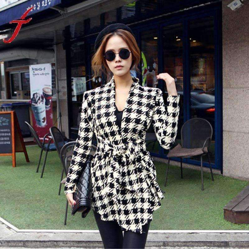 Womens Jacket Hounds tooth Pattern Thin Sweaters-[product_tag]-My MALL Metro