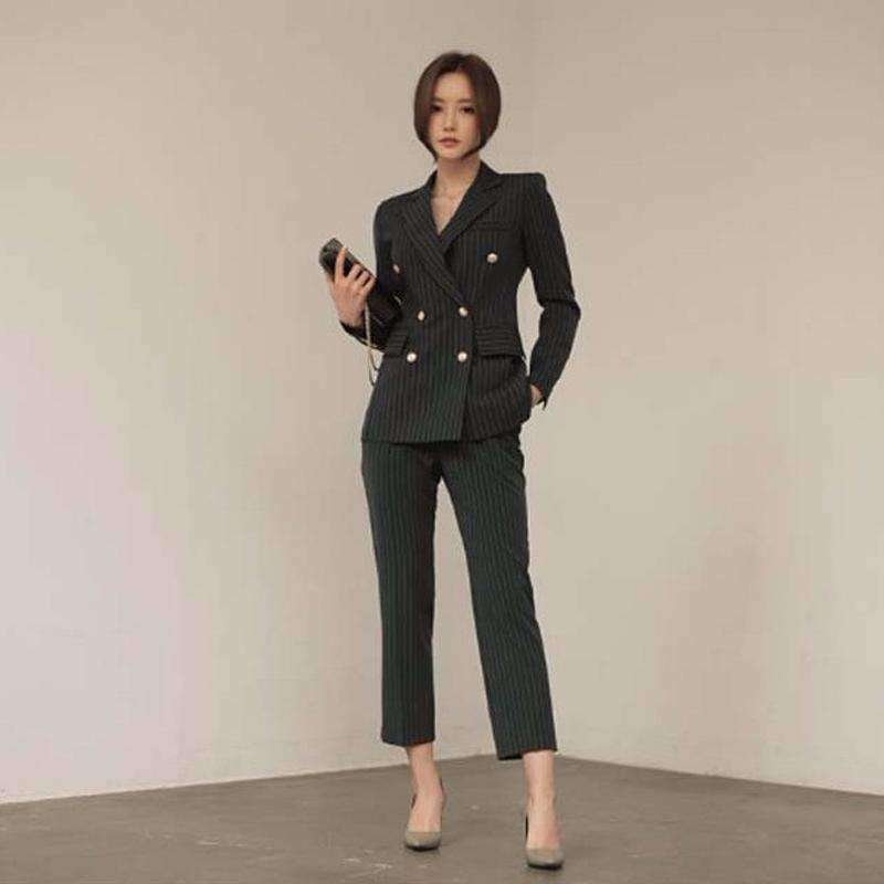 Vertical Stripe Suit Small Suit Slim Suit Jacket Pants- product tag -My MALL 7715552982