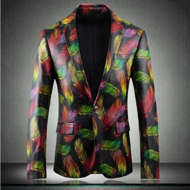 Mens Blazers Feather Print Faux-Leather Jacket-[product_tag]-My MALL Metro