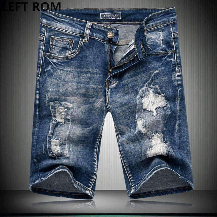Left Rom Menmale High Grade Pure Cotton Slim Fit Leisure Jean Shorts Mens Color Haroon