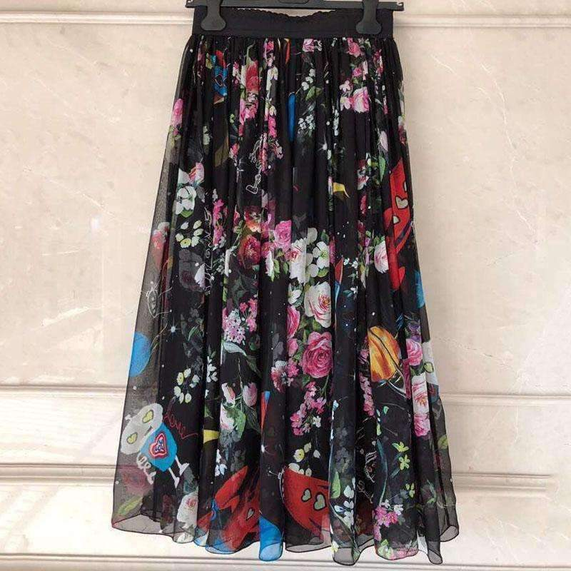 Womens Floral Print Skirt-[product_tag]-My MALL Metro