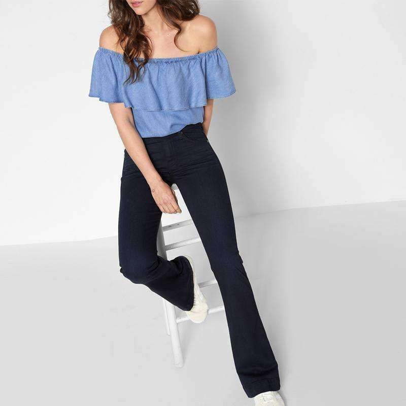 Womens Flare Mid Low Rise Wide-Leg Jeans-[product_tag]-My MALL Metro