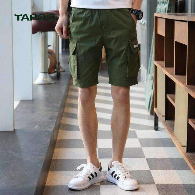Mens Cargo Shorts Knee Length Loose Cotton Short Mid Waist Boardshort Men Elastic