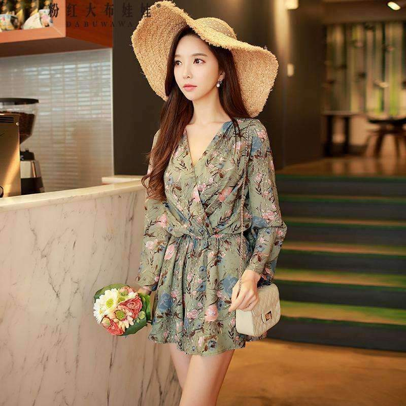 Womens Loose V-Neck Long-Sleeve Print Floral Playsuit-[product_tag]-My MALL Metro