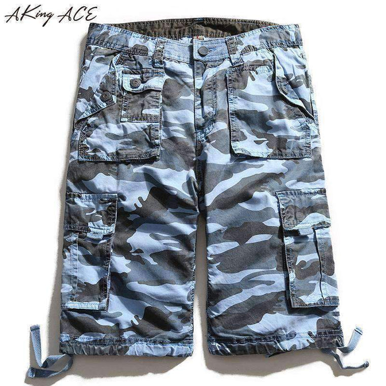2017 AKing ACE Blue Camouflage Cargo shorts brand for male navy army mens camo shorts Baggy cargo harem short pants ,ZA242,,[shop name]