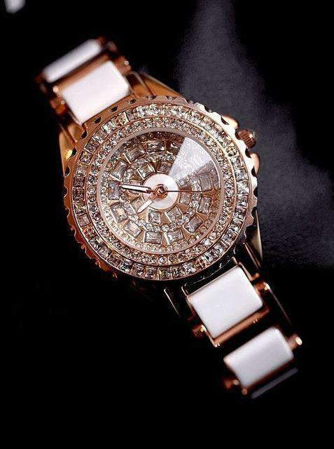Womens crystal bracelet watches Ceramic Straps-[product_tag]-My MALL Metro