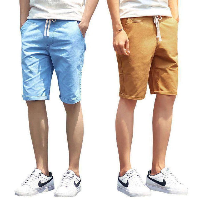 Shorts Men 2016 Summer Fashion Solid Mens Casual Cotton Slim Bermuda Masculina Beach Classic Knee Length