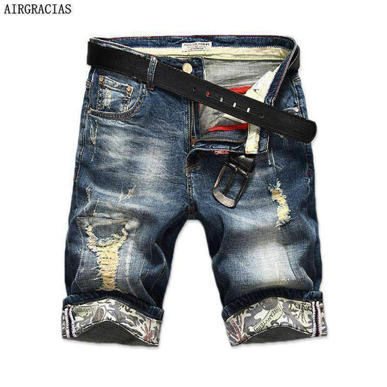 Airgracias New Fashion Mens Ripped Short Jeans Brand Clothing Bermuda Summer 98% Cotton Shorts Breathable Denim Male