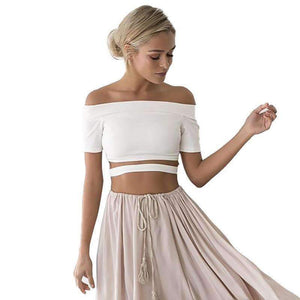 Women Crop Top Causal Short Solid Slash-Neck-[product_tag]-My MALL Metro