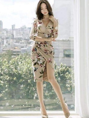 3/4 Sleeve V-Neck Floral Womens Sheath Dress-[product_tag]-My MALL Metro