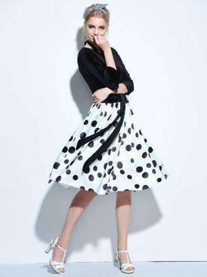 3/4 Sleeve Backless Vintage Womens Polka Dots Dress