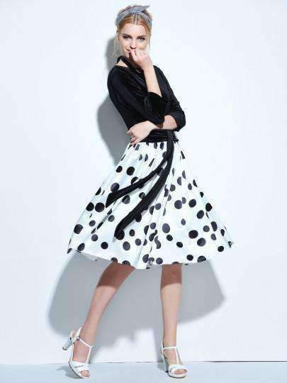 3/4 Sleeve Backless Womens Polka-Dot Dress-[product_tag]-My MALL Metro