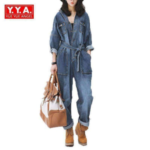 Womens Loose Fit Belt Sashes Denim Jumpsuit-[product_tag]-My MALL Metro