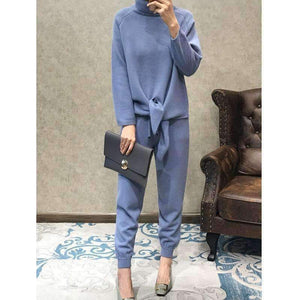 Direct Selling New Lady Suit High Collar Loose Pullover Sweater Waist Wide Leg Pants Casual Mink Knit Two-Piece Female