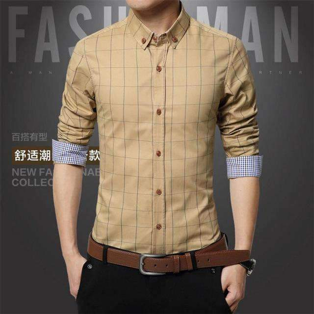 Mens long-sleeved Slim Shirts-[product_tag]-My MALL Metro