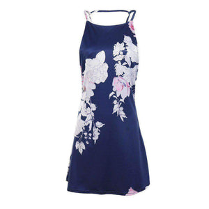 Womens Print Halter V-Neck Back Dress-[product_tag]-My MALL Metro